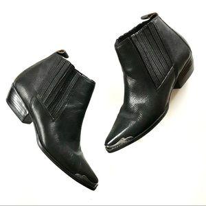 NINE WEST Vintage Black Leather Cowboy Booties